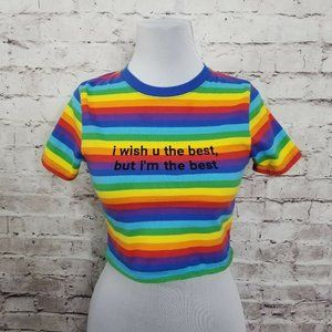 JV by Jac Vanek Size XS I'm The Best Rainbow Top